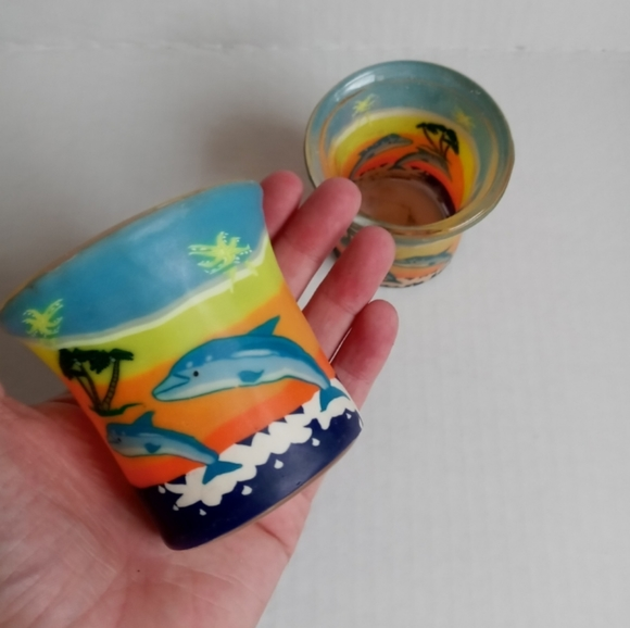 VINTAGE 90S CANDLE VOTIVES CLAY DOLPHINS